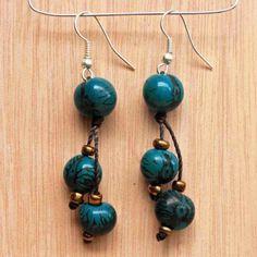 Dark Blue Earrings  Acai Beads  Funky by ArtisansintheAndes