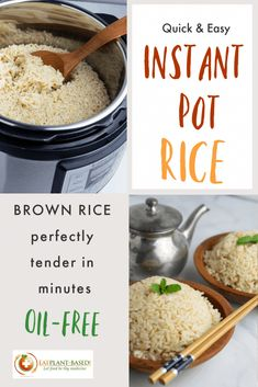 Normally, brown rice takes about 45-minutes to cook on the stovetop, but with an Instant Pot, the cooking time is cut in half and there is no need to even stir it. Simply set it and forget it! #instantpotrice #instantpotbrownrice #healthyrice