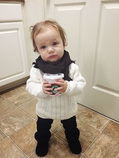 Cozy sweater and a Starbucks sippy cup!