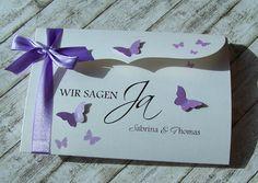Einladung zur Hochzeit Flieder Bogenkarte gross Schmetterlingsschwarm