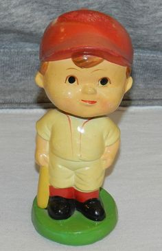 """Vintage Ceramic Bobblehead BASEBALL Figurine  5 1/4"""" Tall Exce Cond $18.00 OBO + $7.50 Shipping"""