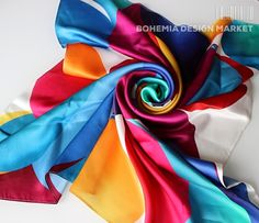 SILK SCARF - DROPS OF JOY #original #silk #scarf #love  #geometry #harmony #great  #present  #shapes #colours #woman  #unique #accessories #joy Bohemia Design, Throw Pillow Covers, Throw Pillows, Creative People, Aurora Sleeping Beauty, Joy, Colours, Shapes, Silk