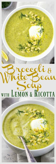 Creamy Broccoli & White Bean Soup with Lemon & Ricotta.  This soup is super creamy, but made without a drop of cream!  #MeatlessMonday
