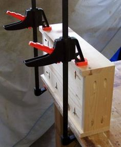 Building drawer boxes is easy with the Kreg pocket hole jig.  Learn all about it at start-with-free-woodworking-plans.com.