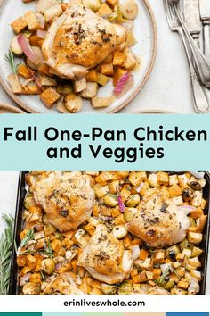 This healthy one-pan chicken and veggies recipe is made in the oven. All you need is a baking sheet, some apples, chicken, and your fav veggies!
