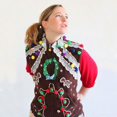 Use all of your craft supplies to make this gingerbread house-inspired ugly Christmas sweater vest.