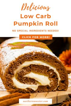 This delicious low carb pumpkin roll recipe is the perfect treat to enjoy in fall! With delicious ginger and pumpkin spices, this tasty cake is suprisingly easy to make and will be loved by the whole family - totally guilt free! #lowcarbpumpkinroll #lowcarbpumpkincake #lowcarbpumpkinrollcake Pumpkin Roll Cake, Pumpkin Spice, Low Carb Desserts, Dessert Recipes, Best Low Carb Recipes, Roll Recipe, Low Carb Breakfast, Guilt Free, I Love Food
