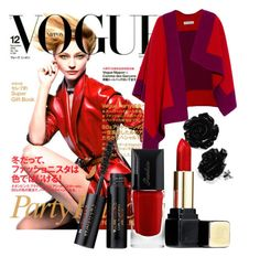 """red si cool"" by andreea-andreuta-andri ❤ liked on Polyvore featuring Burberry and Guerlain"
