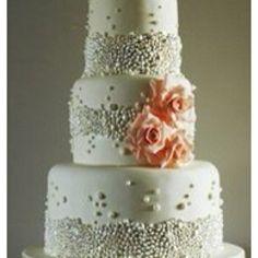 silver bead encrusted wedding cake