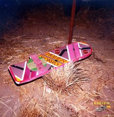 McFly's hoverboard rests in the grass during the filming of Back to the Future Part II.