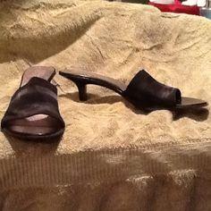 Black dressy sandal slides Black dressy slide sandals Pesaro Shoes