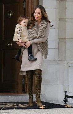 Tamara Ecclestone wearing Aquazzura Giselle Cuissard Boots in Moss Green and Yves Salomon Knitted Rabbit Fur Vest