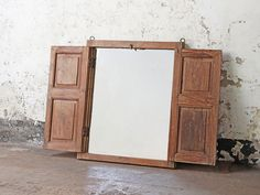 Originally this striking large wall mirror began life as an antique shuttered window frame from Northern India. This has been repurposed in to a fantastic standing mirror. Vintage Furniture For Sale, Furniture Sale, Mirrored Bedroom Furniture, Shabby Chic Furniture, Rustic Mirrors, Standing Mirror, Wooden Chest, Cupboard Doors, Window Frames