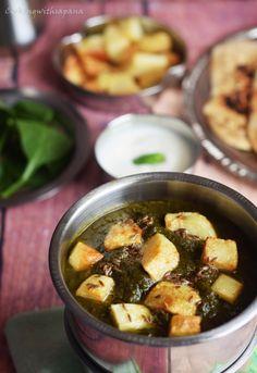 aloo palak,spinach potato gravy