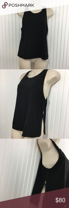 """Iro 'Cherie' black side zipper tank top Great Iro black Cherie tank top. Perfect for work with a blazer but can transition to a night out with sexy lower cut sides. Two hidden  zippers on each side. Completely lined with that same fabric as the exterior. In very good condition no rips stains or holes Approximate measurements flat across Chest: 16.5"""" waist: 18"""" length: 21.5""""  Size: 38 US: 6 IRO Tops Tank Tops"""