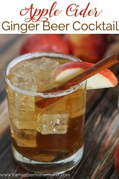 Apple Cider Ginger Beer Cocktail Recipe- the perfect drink for autumn-I love everything apple in the fall!