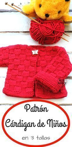 A special design for beginners of the tricot or two needles: Cardigan for children in 3 sizes rnrnSource by Baby Cardigan Knitting Pattern, Baby Knitting Patterns, Knitting Designs, Baby Patterns, Knitting For Kids, Knitting For Beginners, Knitted Baby Clothes, Knitted Hats, Knitting