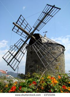 Old windmill in Montedor near Viana do Castelo, Portugal
