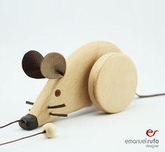 Personalized Pull Toy Wooden Toy Mouse Eco Friendly by emanuelrufo