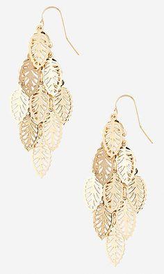 metal leaf waterfall earrings