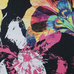 Italian Fuchsia and Multicolor Abstract Printed Cotton Voile