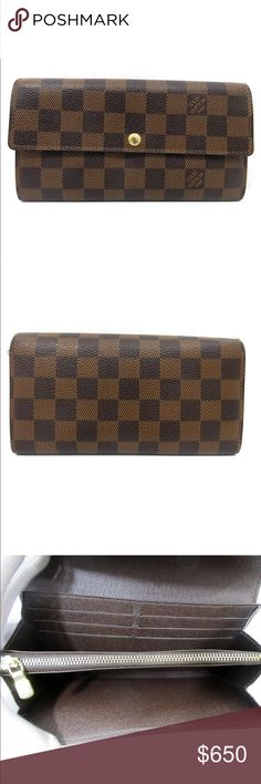 """Authentic Louis Vuitton Sarah long wallet Product RatingExternal : 6 / Internal : 3 - Good used condition, and will be cleaned and moisturized with my Cadillac leather lotion prior shipment.  Brand NameLOUIS VUITTON Product NamePortefeuille Sarah Model NoN61725 Date CodeCA5009 Made InSpain MaterialPVC Canvas Leather ColorDamier Size(Inch) W7.5""""×H4.1""""×D1.2""""  Size(cm)W19×H10.5×D3 Accessories---- Smell There is no noticeable smell. *Please be aware if you are particularly sensitive…"""