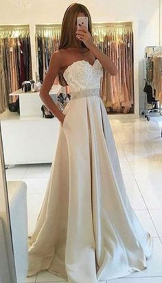 champagne long prom dresses, prom dresses long with pockets