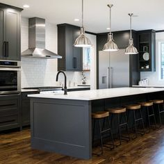 Like almost everything, not sure if light cabinets and gray counters are better than dark cabinets and light counters Dark Grey Kitchen Cabinets, Black Kitchen Island, Gray And White Kitchen, Kitchen Islands, White Cabinets, Cherry Cabinets, Dark Cabinets White Backsplash, Black Ikea Kitchen, Subway Backsplash