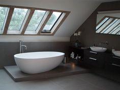Timber framed roof lights in bathroom