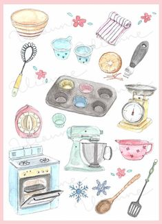 37 trendy Ideas for baking art illustration sweets Food Illustrations, Illustration Art, To Do Planner, Owl Clip Art, Art Watercolor, Vintage Baking, Buch Design, Donia, Baking Accessories