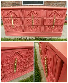 Painted In Coral With Painted Gold Handles. PieceOfCandyFurniture In Houston,  TX