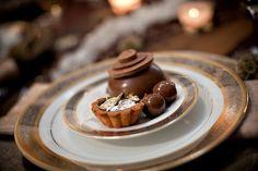 Plated chocolate dessert.