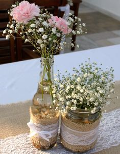 Everlasting weddings - gain creativity from this superb weddings. Rustic Wedding Centerpieces, Wedding Table Decorations, Rose Gold Christmas Decorations, Deco Floral, Floral Arrangements, Wedding Flowers, Bridal Shower, Burlap Mason Jars, Team Bride