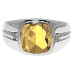 Cushion-Cut Citrine Gemstone and Diamond Men's Ring In White Gold Available Exclusively at Gemologica.com