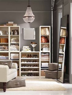 Love the PAINT color with the creme accessories.  Build-your-own dream closet. #potterybarn