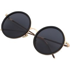 Black Round Frame Metallic Arms Sunglasses ❤ liked on Polyvore featuring accessories, eyewear, sunglasses, round frame glasses, round frame sunglasses, round sunglasses, metallic sunglasses and metallic glasses