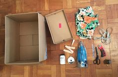 Turn Cardboard Boxes into Pretty Storage Bins