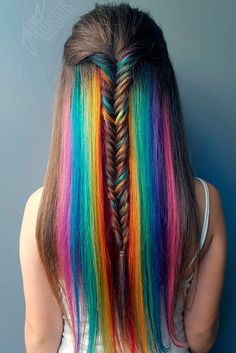 We've gathered our favorite ideas for 18 Mesmerizing Hidden Rainbow Hair Hair And Beauty, Explore our list of popular images of 18 Mesmerizing Hidden Rainbow Hair Hair And Beauty in rainbow colored hair. Hair Dye Colors, Cool Hair Color, Hair Color For Kids, Exotic Hair Color, Hidden Hair Color, Rainbow Hair Highlights, Ombre Hair Rainbow, Rainbow Braids, Blonde Highlights
