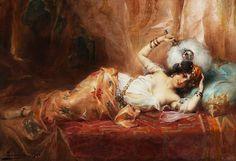 Odalisque à l'éventail, (1906) - Adrien Henri Tanoux