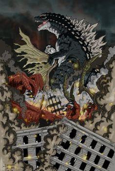 Epic Godzilla 2014 Panel and other Fan Art