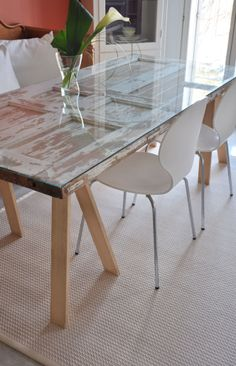 Table made from an old door.