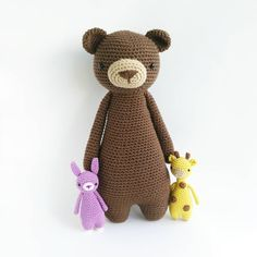 "After being asked for hours what his secret for getting tall was, Bear simply answered: ""I just eat my daily serving of fruits and veggies.""  The kids were pretty disappointed. . Patterns can be found in my store: www.littlebearcrochets.com Mini bunny will be released later."