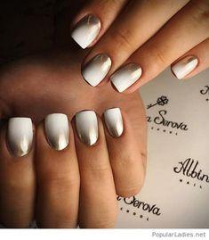 Gold to white nails design