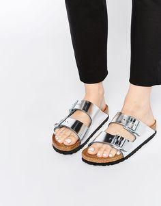 Birkenstock Arizona Metallic Silver Slider Flat Sandals
