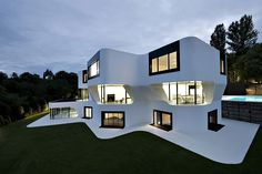 "Berlin-based studio J. Mayer H. has designed the Dupli Casa project. Completed in August 2008, this 12,800 square foot, three story, contemporary home is located near Ludwigsburg, a city in Baden-Württemberg, Germany. Dupli Casa by J. Mayer H.: ""The geometry of the building is based on the footprint of the house that previously was located on the …"