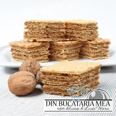 Din bucătăria mea: Prajitura cu foi de napolitana si nuca - I Cook Different Romanian Desserts, Romanian Food, Mini Desserts, Sweet Desserts, Sweets Recipes, Cake Recipes, Caramel Crunch, Waffle Cake, Wafer Cookies