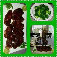 Brocoli & Bar~b~q country style ribs