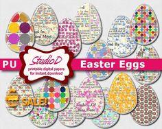 SALE - Easter egg clipart Grungy scrapbook elements Rustic Easter embellishment Digital collage sheet for instant download by StudioDprint