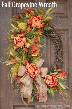 Diy Fall Wreath, Holiday Wreaths, Spring Wreaths, Wreath Ideas, Halloween Wreaths, Winter Wreaths, Summer Wreath, Holiday Ideas, Thanksgiving Wreaths