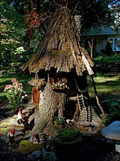 7 foot Gnome house from old tree trunk